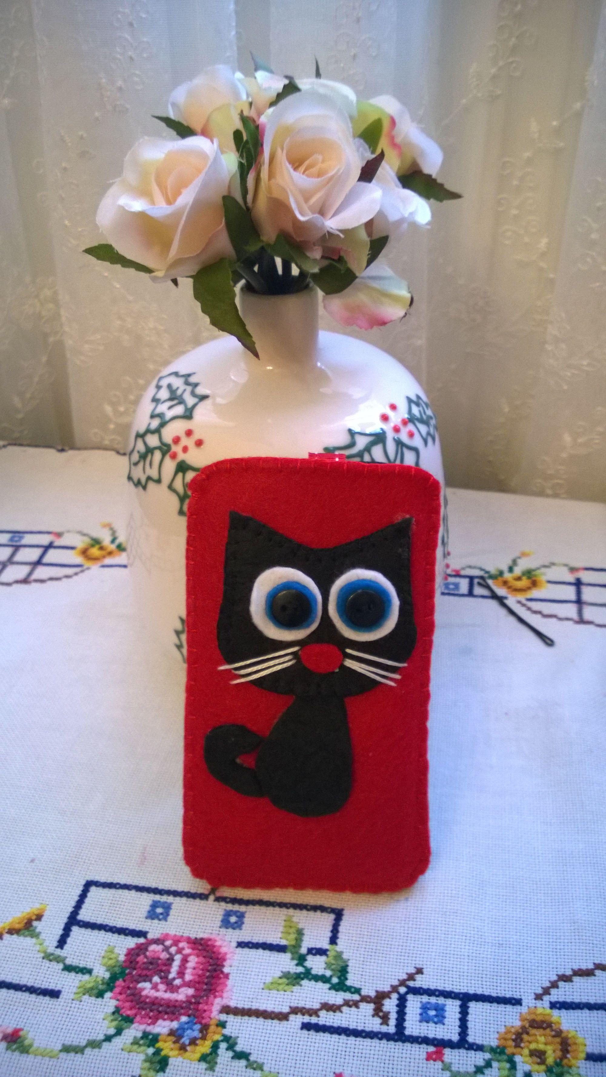 keçe, keçe telefon kılıfı, fet, felt phone case, felt cats