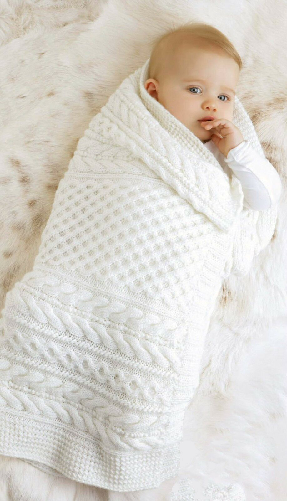 KNITTING PATTERN- CABLE knit baby blanket in DK Merino ...