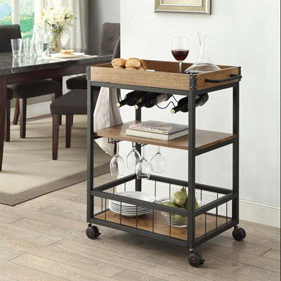 Linon Austin Bar Cart Metal Frame With Wood Top Kitchen Cart Kitchen Furniture Furniture