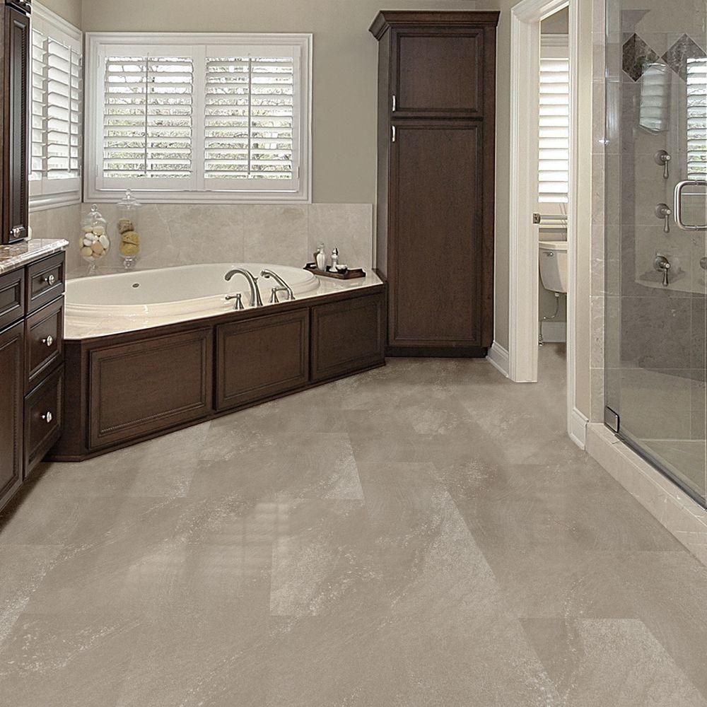 Allure flooring for bathrooms - Trafficmaster Allure Ultra 12 In X 23 82 In Sandstone Taupe Resilient Vinyl Tile Flooring