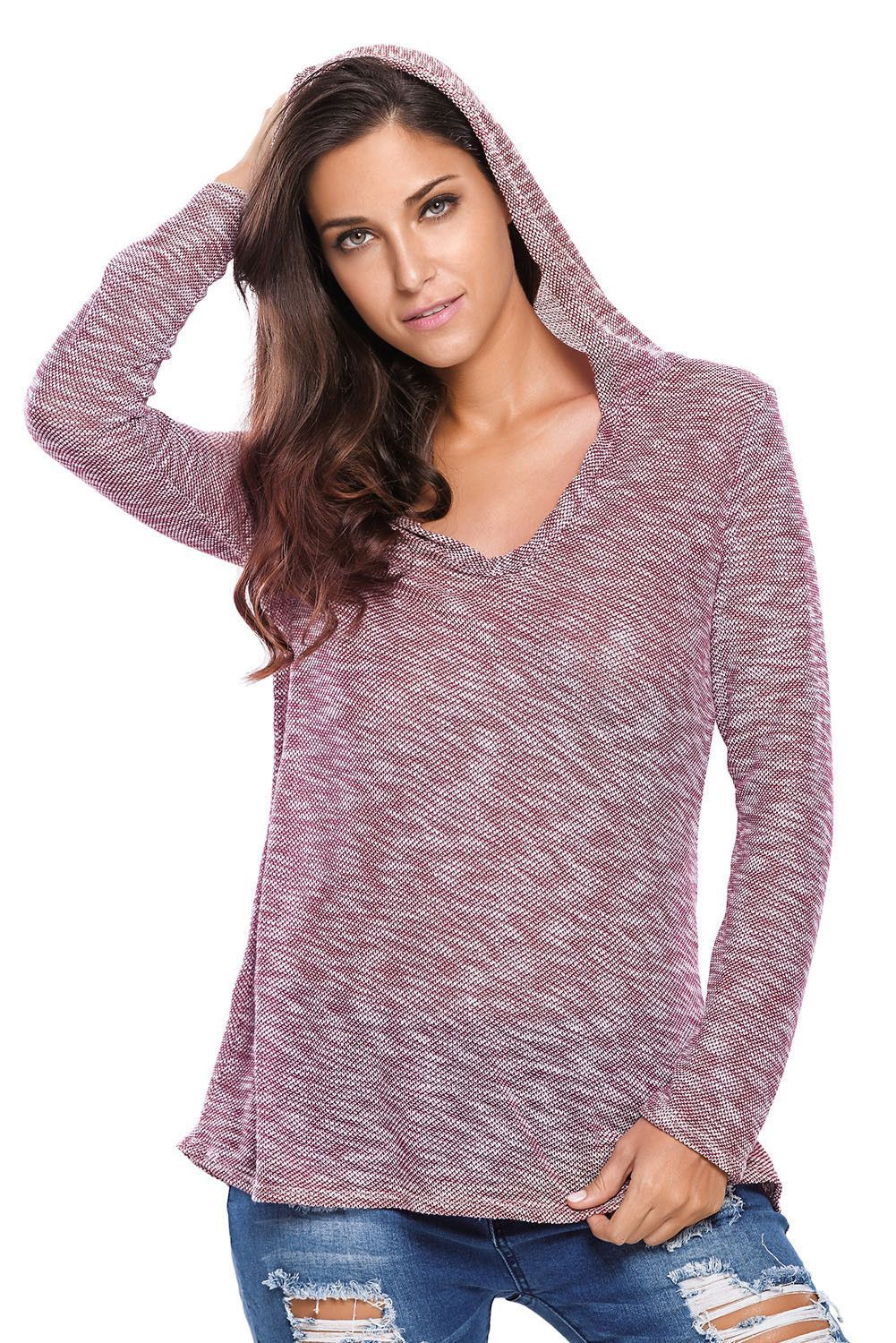 Purple Hooded V-Neck Long Sleeve Loose Knitted Sweaters Top ...