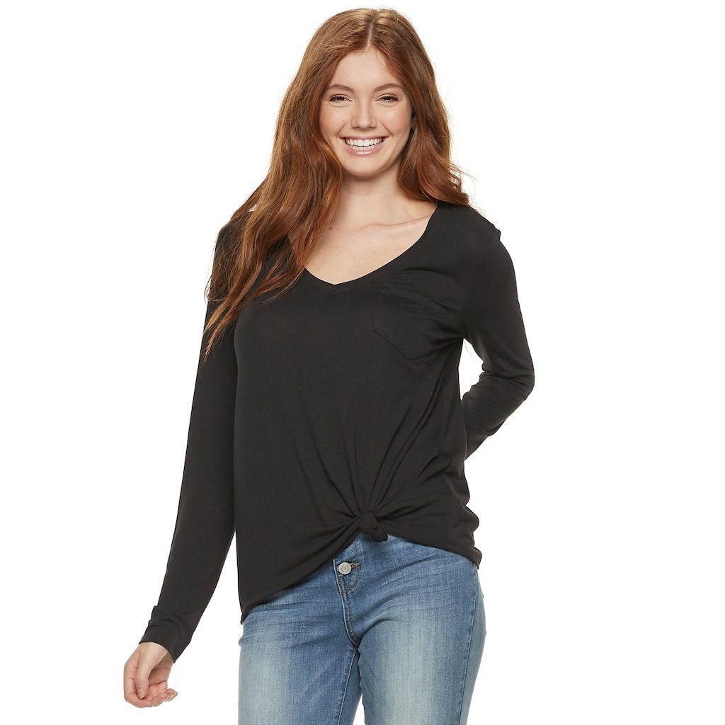 08a6f8dcd91 Juniors' SO® Pocket Long Sleeve Tee | Products | Long sleeve shirts ...