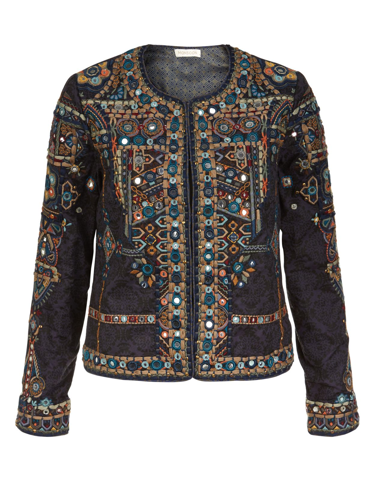 Nisha Embellished Jacket | Navy | Monsoon