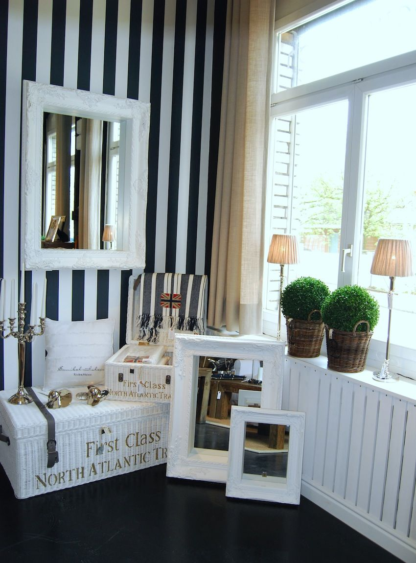 white and black stripes on the wall....white stuff - Riviera Maison