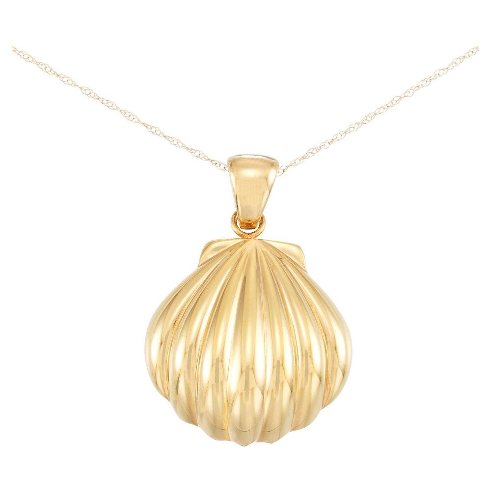 Kt Gold Textured Puffed Shell Pendant on Chain Reinforced with