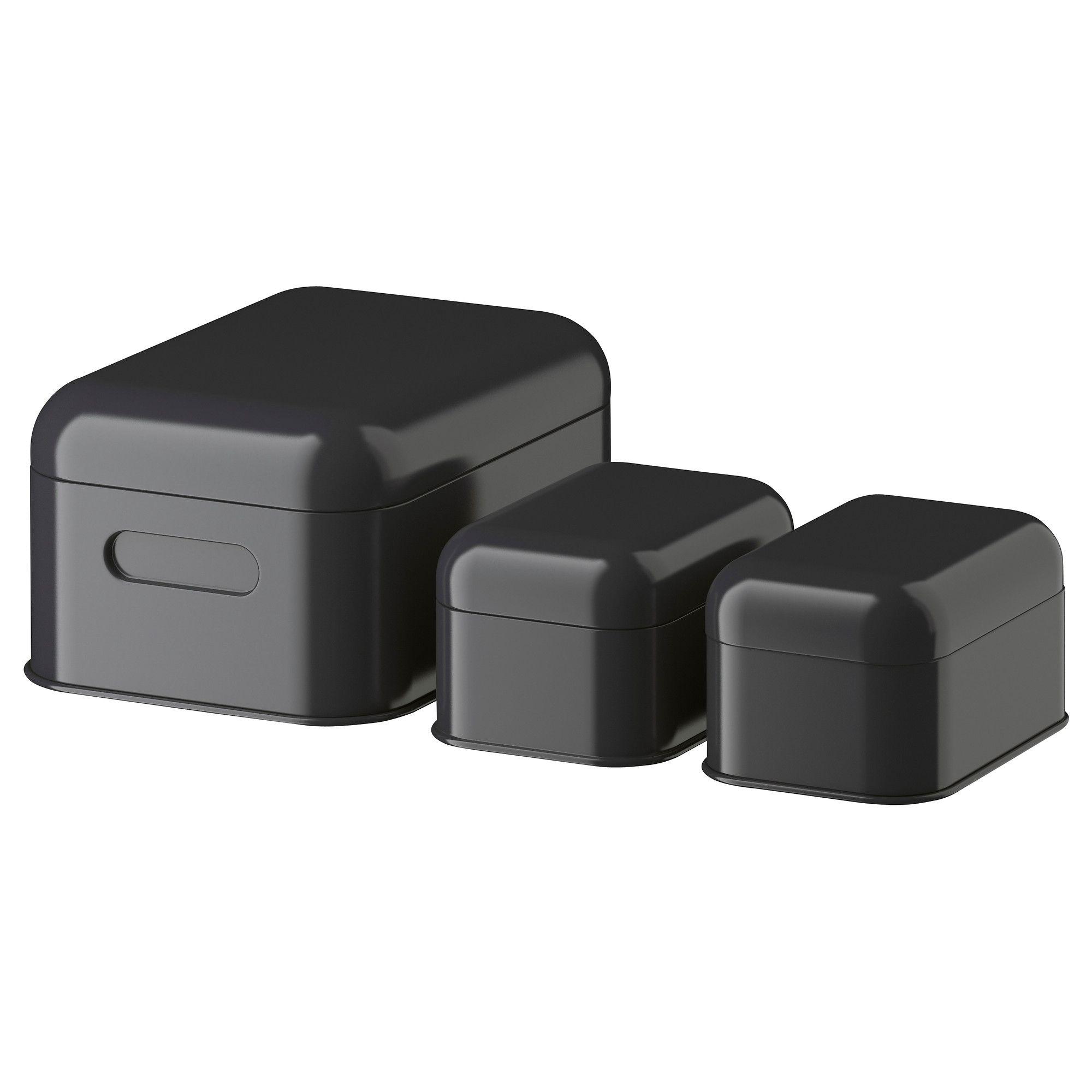 SNIKA Låda med lock set om 3 - mörkgrå - IKEA