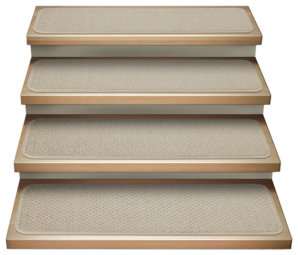 Set Of 12 Attachable Carpet Stair Treads Ivory Cream Contemporary Stair Tread Rugs By House Home Mor Carpet Stair Treads Stair Tread Rugs Carpet Stairs