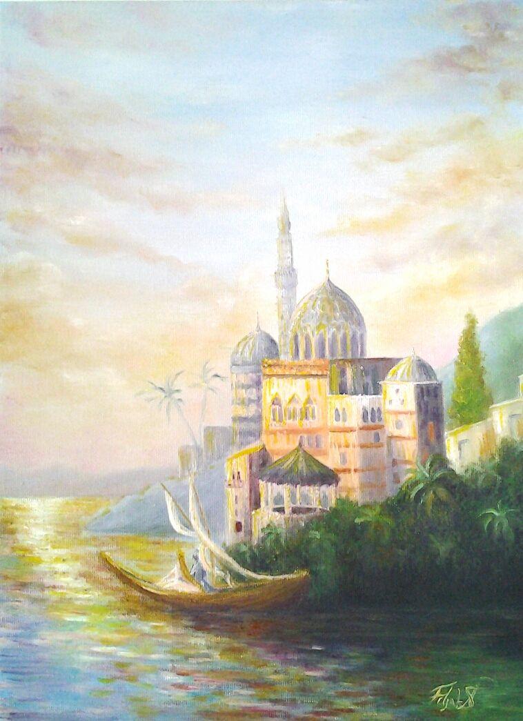 Original Oil Painting Princess Room Decor *Castle by the Sea*