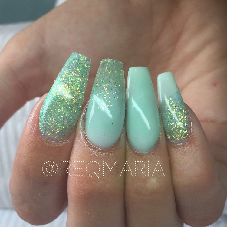 Seafoam green + Mint glitter Ombre long coffin nails @reqmaria #nail ...