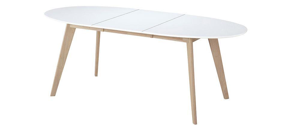 table extensible ovale blanche et bois clair leena | table à