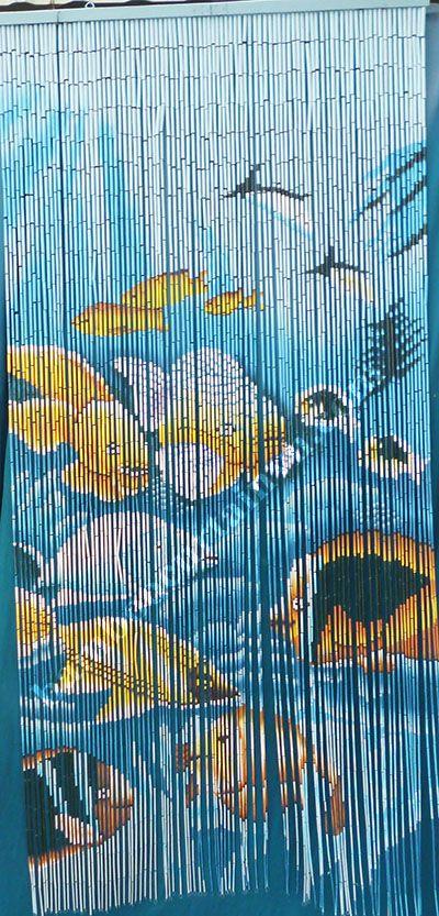 Tropical Fish Bamboo Beaded Door Curtain Tende Con Perline Perline