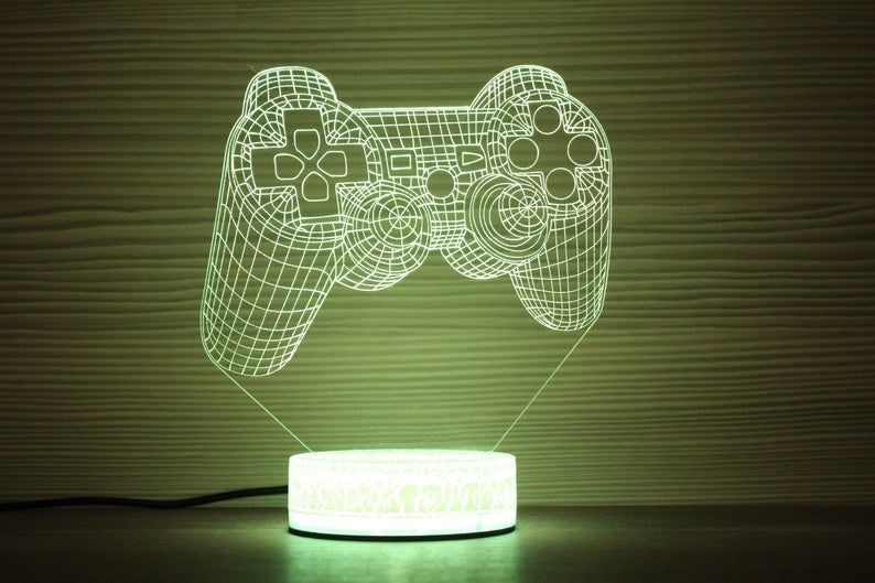 Game Controller Play Joystick Night Lamp Night Light 3d Light Etsy 3d Light Night Light Night Lamps