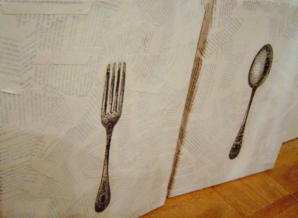 Diy Dining Room Art book pages and silverware. | crafts and diy projects | pinterest