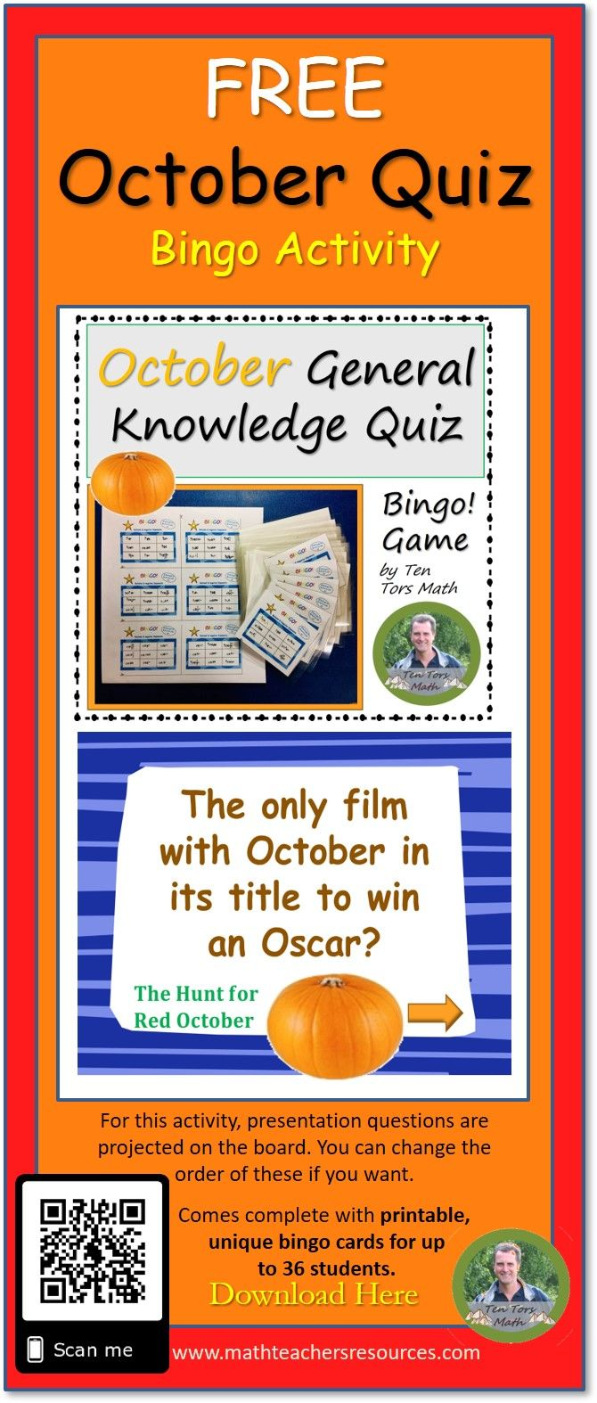 October / Halloween Quiz Game General knowledge