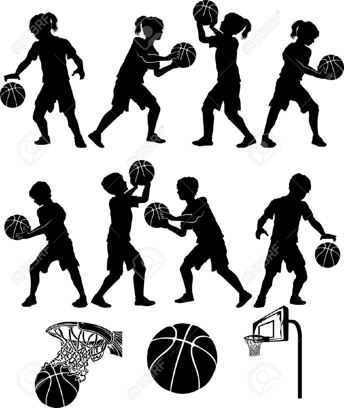 Basketball Players Silhouettes Of Kids Boys And Girls Kids Silhouette Basketball Players Basketball Silhouette