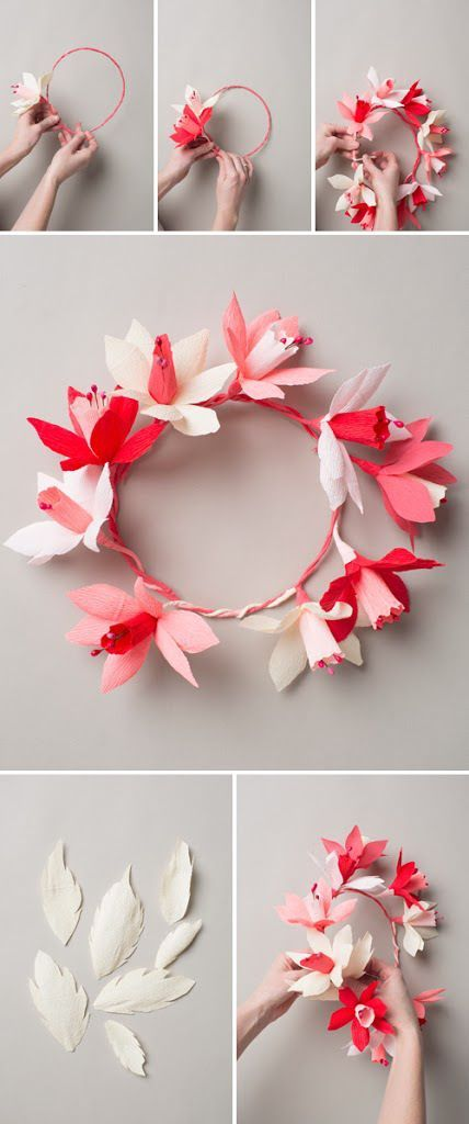 Valentines paper flower wreath paper crowns crown and diy decoration valentines paper flower wreath mightylinksfo
