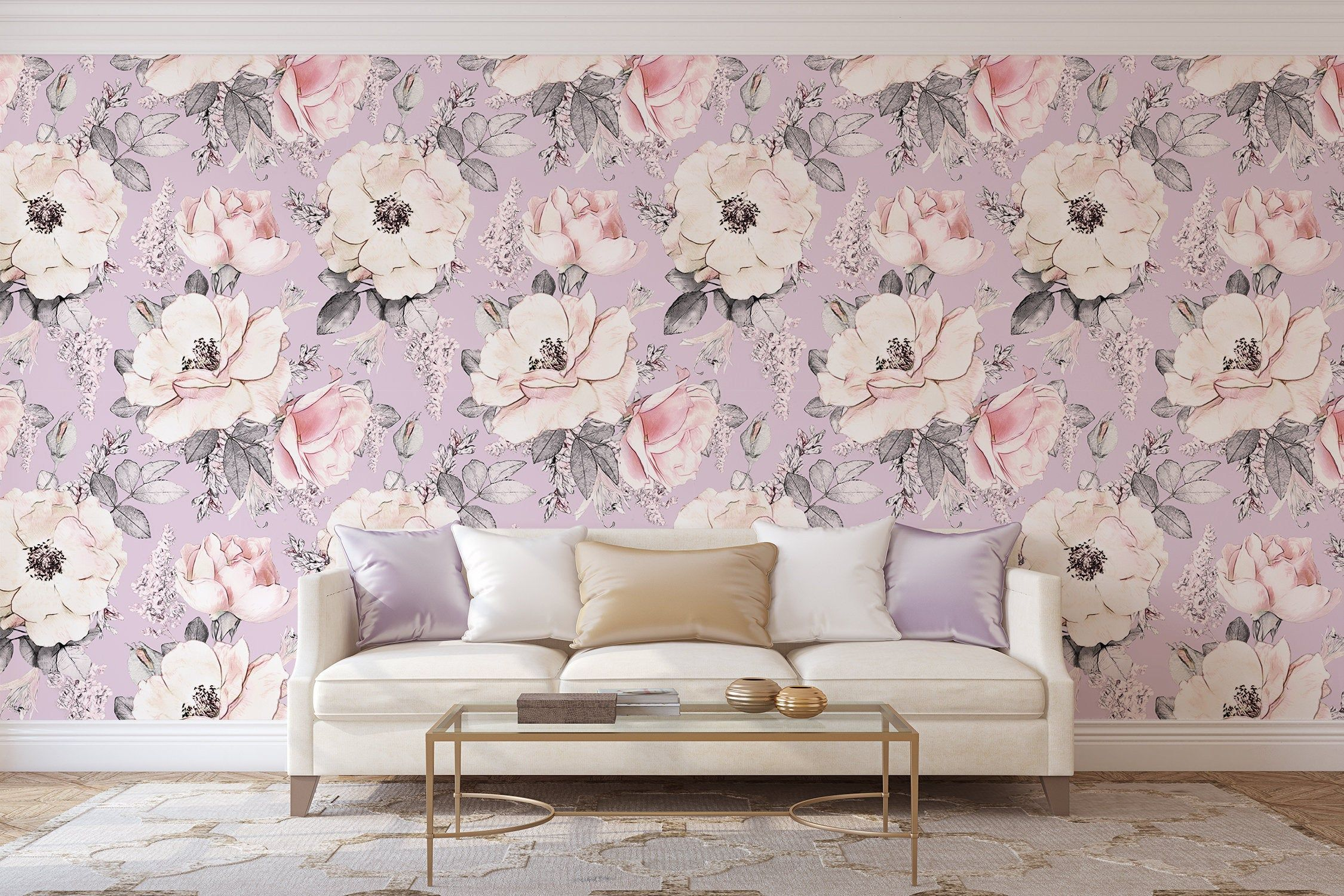Removable Peel And Stick Wallpaper Purple Watercolor Floral Etsy Nursery Wallpaper Peel And Stick Wallpaper Home Wallpaper