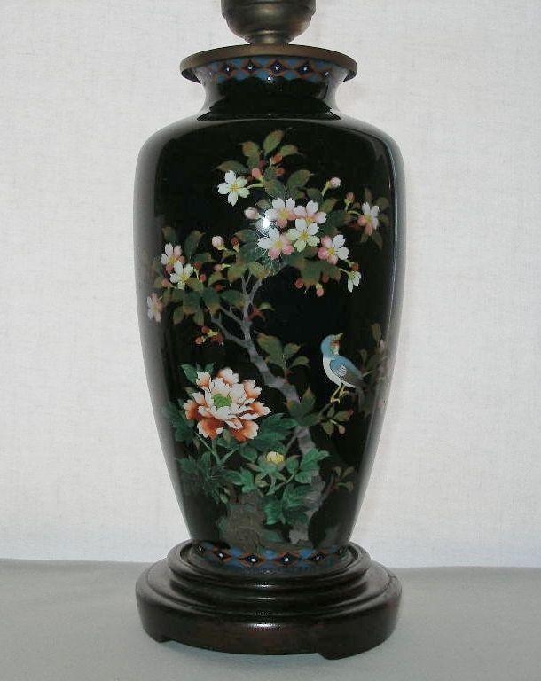 Astoundingly EXQUISITE Japanese CLOISONNE Breathtaking LAMP Flowers BIRD Vintage