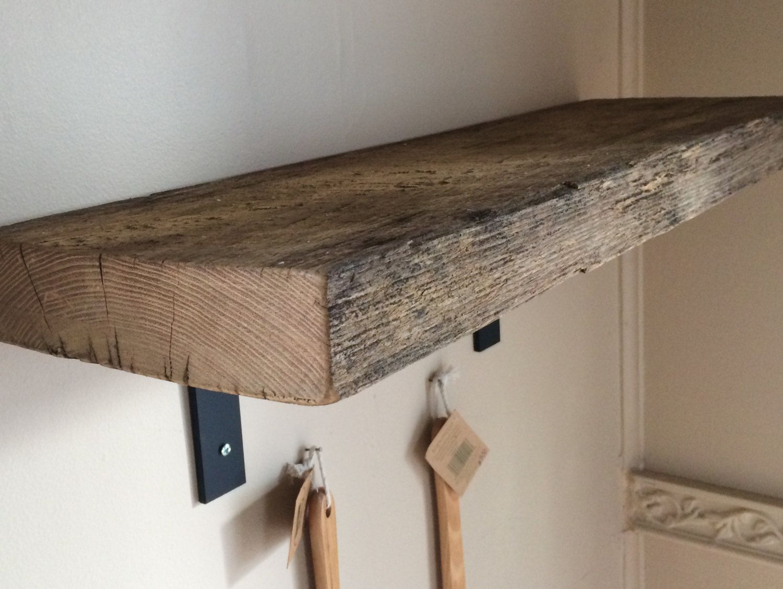 Reclaimed Barn Wood Shelf With Industrial Black Metal L Brackets Barnwood Shelves Barn Wood Reclaimed Barn Wood