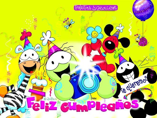 Feliz Aniversario Tia Espanol: Niki, Ele, Morfeo, Lui, Bichos © ZEA Www.tarjetaszea.com