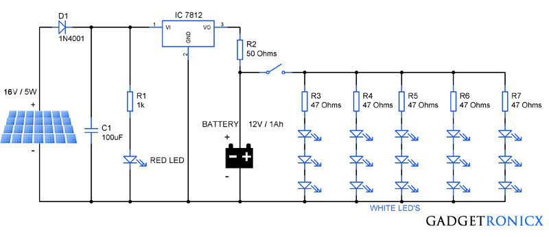 Led Light Circuit Diagram For Dummies 2006 Kawasaki Mule 3010 Wiring Solar Garden Lights Schematic Design Tutorial On Building Electronic Of A Panel Battery Charger And Street