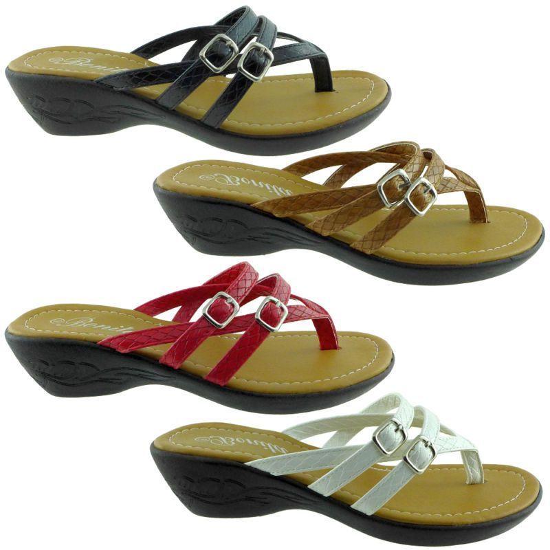 8b97454c5bf4 New Womens Sandals Wedge Shoes Low Heels Flip Flops Thong Black