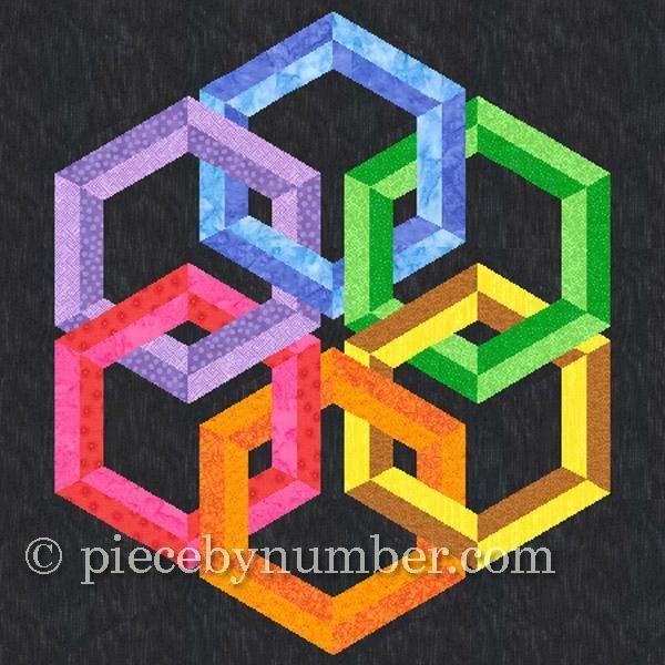 Hexadaisy paper pieced quilt block