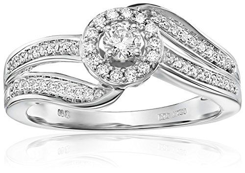 Engagement Rings Simple 10k White Gold Round Twist Diamond Ring 038 Cttw Ij Color