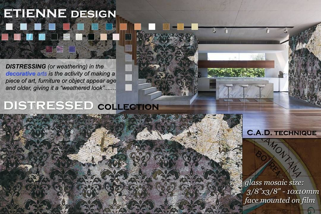 Glass mosaic mural rendering from New Collection by tramontanamosaico