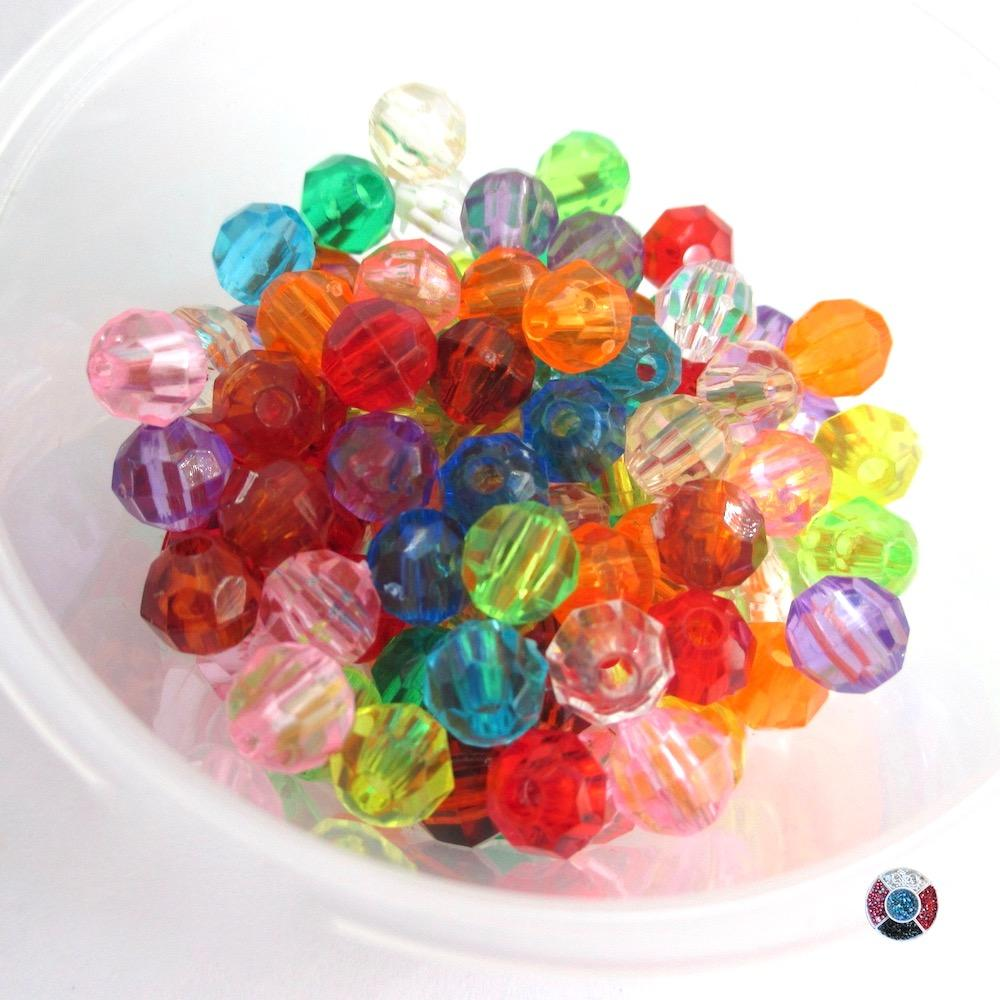 Acrylic Crystals Bulk Beads, Assorted Colors 6mm 220