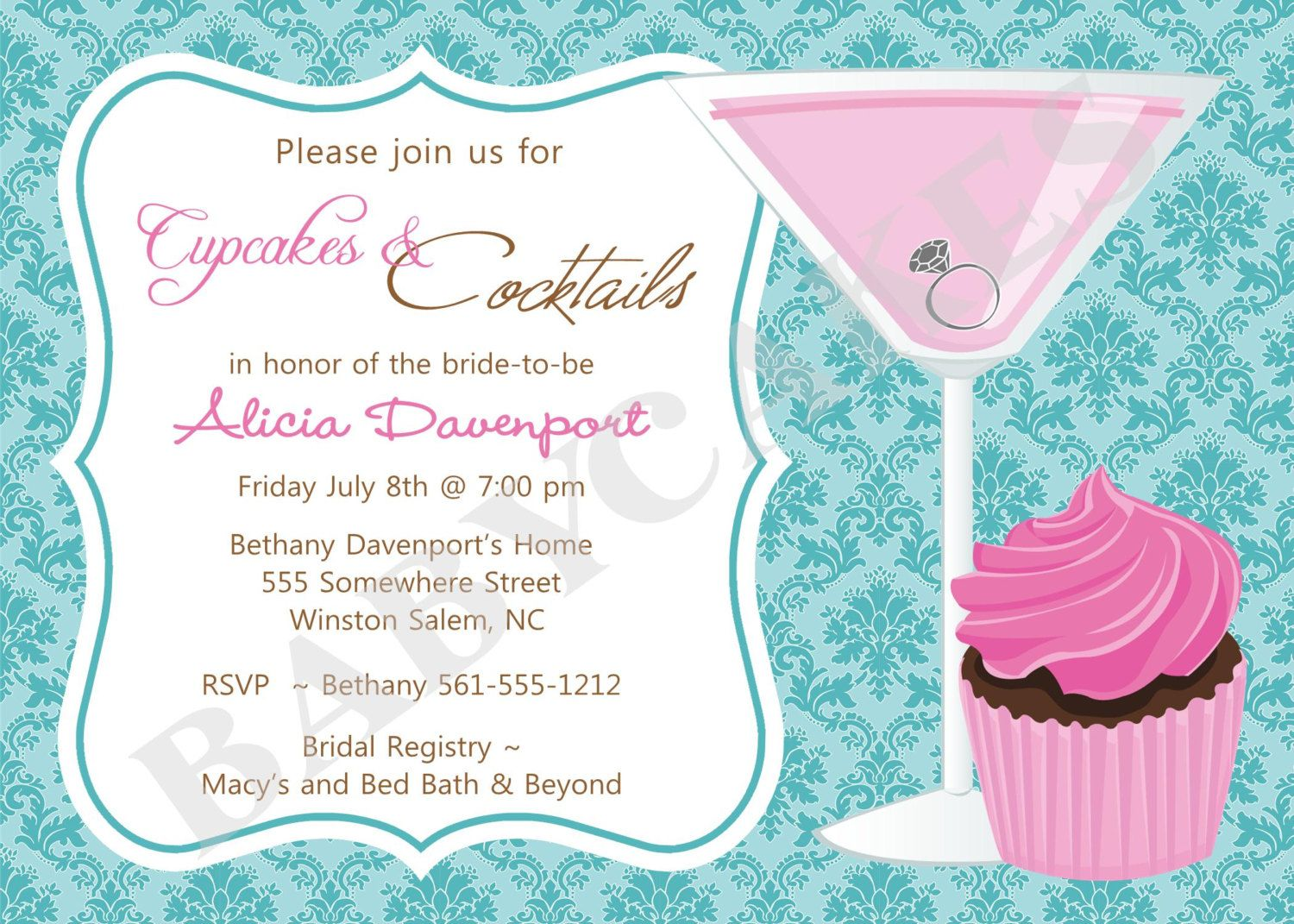 cupcakes and cocktails bridal shower invitation bachelorette diy print your own matching party printables available