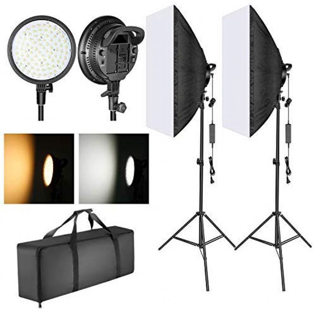 Folong 1350W Photography Continuous Softbox Lighting Kit 20X28 Continuous Photo Video Lighting System with 2pcs E27 Socket 5500K Video Lighting Bulb for Filming Model Portraits Advertising Shooting