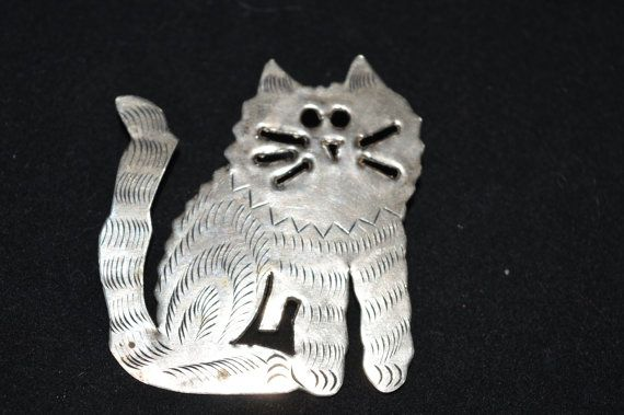Adorable Cat Pin Engraved Silver Cat Lapel by FabulousVintageStore