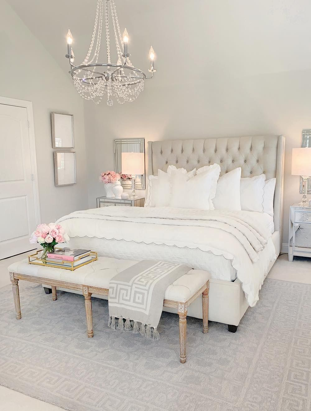 Neutral Beige Tufted Headboard In Bedroom With White Tufted End Of Bed Bench Via Thedecordiet Bedroom Interior Bedroom Decor Luxurious Bedrooms Home bedroom makeover diy upholstered