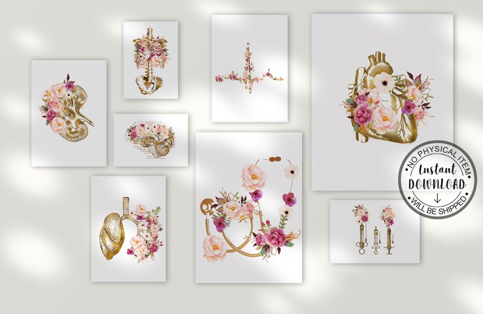 Doctor Gift, Doctor Office Decor, Medical Student Gift, Anatomy Art Set, Doctor Graduation Gift, Nurse Office Decor, Nurse Gift,Art Set of 8