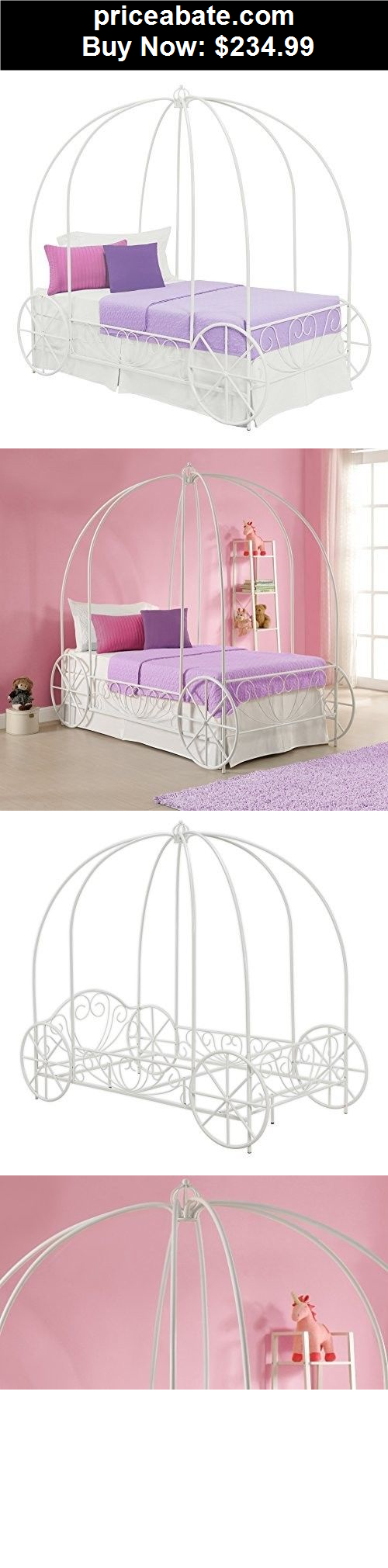 KidsFurniture Princess Carriage Bed Twin White Frame