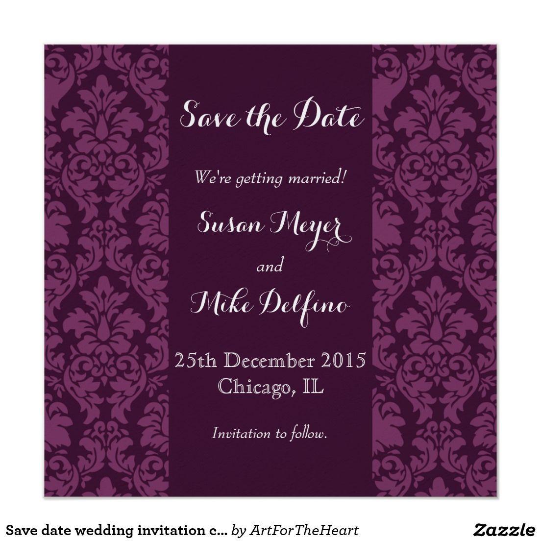 Save date wedding invitation card purple damask save the date save date wedding invitation card purple damask stopboris Images