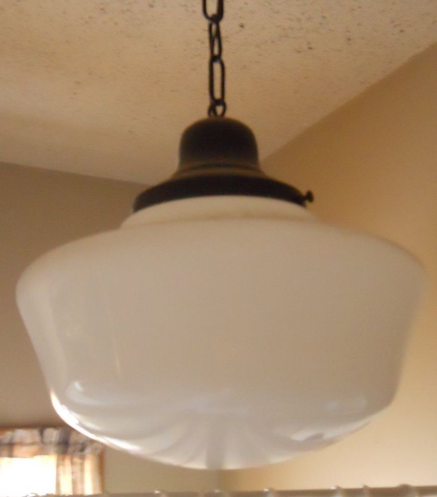 Vintage industrial school house milk glass hanging light 1920s vintage industrial school house milk glass hanging light 1920s arubaitofo Gallery
