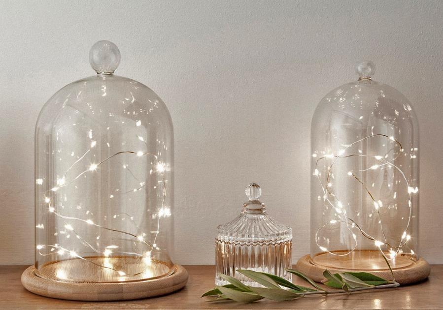 lichterketten f r au en und innen light glasglocke. Black Bedroom Furniture Sets. Home Design Ideas