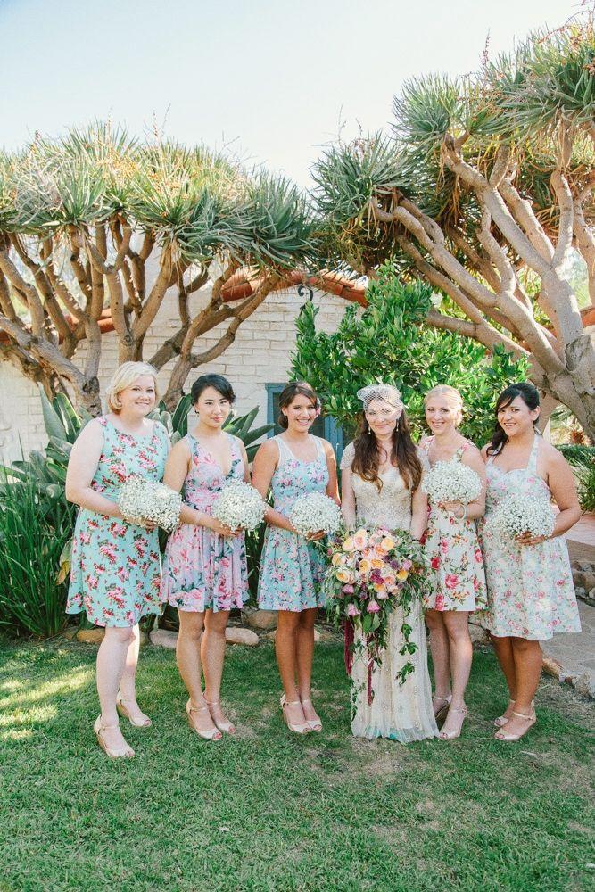 6a03e5a46a2fd Hilary & Michael's Leo Carrillo Ranch Wedding - Mismatched Floral  Bridesmaid Dresses • The Melideos