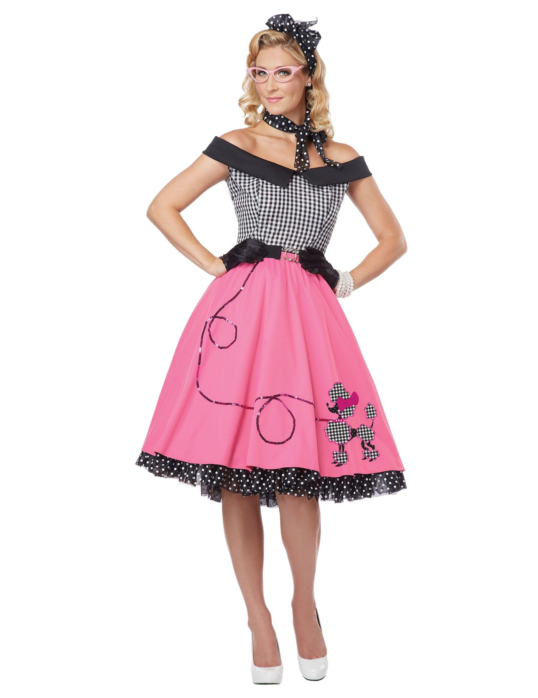 Disfraz años 50 negro y rosa perro para mujer | Años 50 - Grease ...