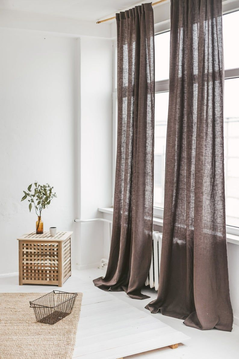Extra Long Linen Curtain Brown Linen Window Drape Stonewashed