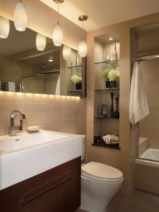 Bathroom Design, love the pendent light and the lights behind the mirror.