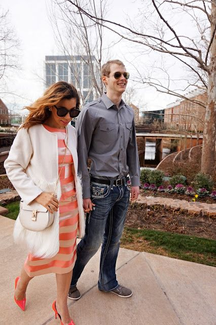 white fur coat, pink stripe dress, white and pink outfit, crossbody bag, pink jimmy choo pumps, Karen walker super duper, ditto sunglasses code reddirtglitter, spring style, open back dress, bow back, couple photography, his and hers, couple photoshoot