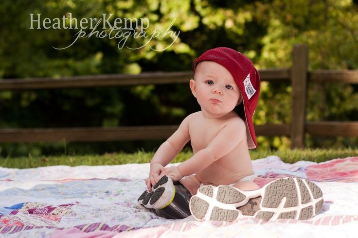 6 month picture ideas for baby boys month old boy in daddys shoes and hat