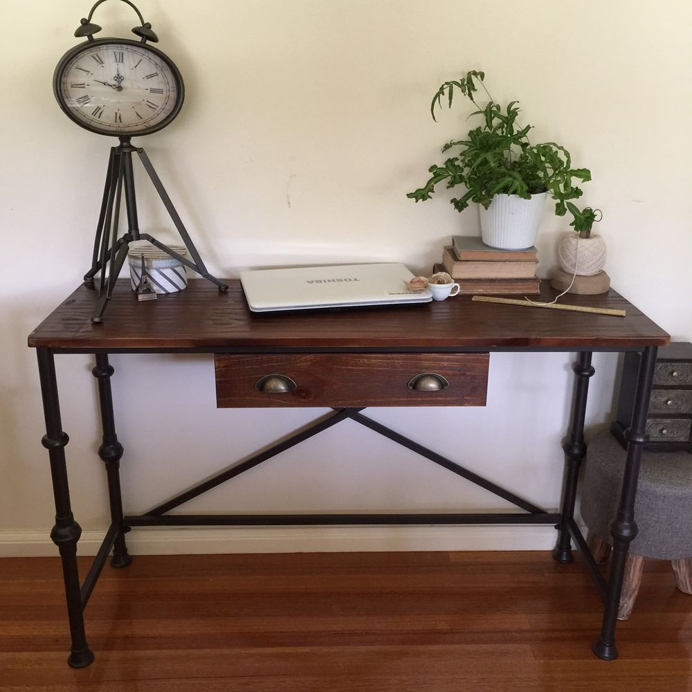 Metal Hall Table industrial pipe style metal & timber console/desk with drawer