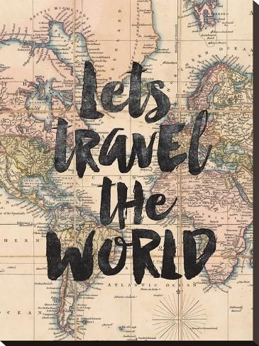 size: 29x22in Stretched Canvas Print: Lets Travel The World BW by Brett Wilson : Using advanced technology, we print the image directly onto canvas, stretch it onto support bars, and finish it with hand-painted edges and a protective coating.