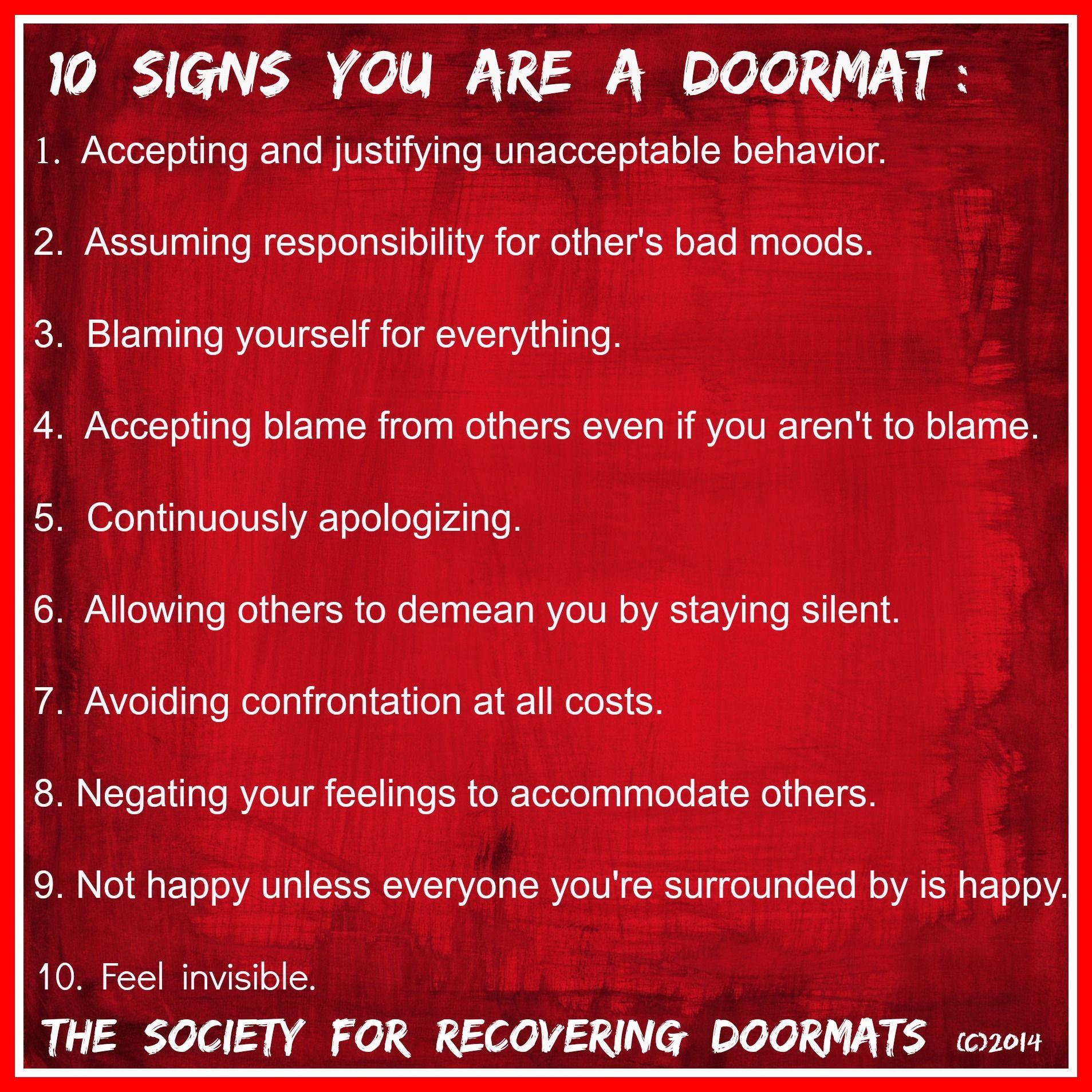 signs you doormat relationship