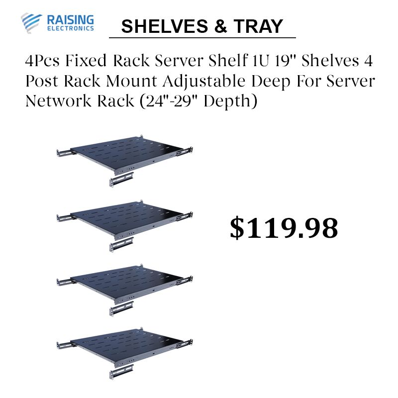 4pcs Fixed Rack Server Shelf 1u 19 Shelves 4 Post Rack Mount Adjustable Deep For Server Network Rack 24 29 Depth In 2020 Data Center Rack Mounted Shelves Network Rack