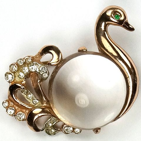 Coro Sterling Jelly Belly Swan Pin